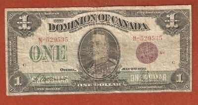 1923 Dominion of Canada One Dollar Bank Note Well Circulated Nice Note E03