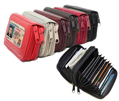 New Solid Genuine Leather Accordion Style Credit Card Holder Women's Wallet