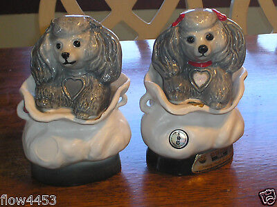 Jim Beam Bottles Club Decanter TIFFANY And Male Poodle Dogs No Stopper And Empty