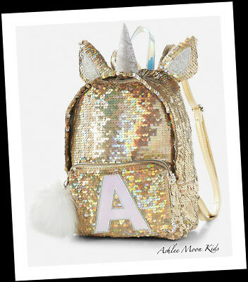 """NWT JUSTICE Gold Unicorn Flip Sequin """"MINI"""" Backpack CHOOSE LETTER🦄🦄🦄"""