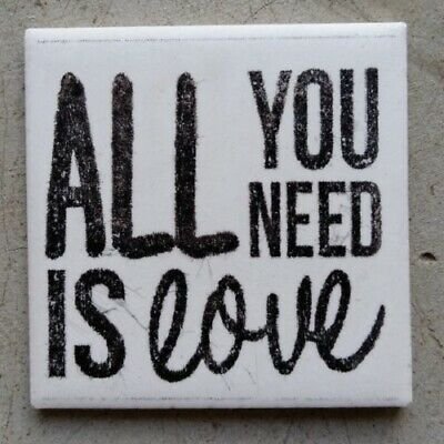 """Mosaic Tile - """"ALL YOU NEED IS LOVE"""" ~ Mosaic Inserts, Art, Craft Supplies"""