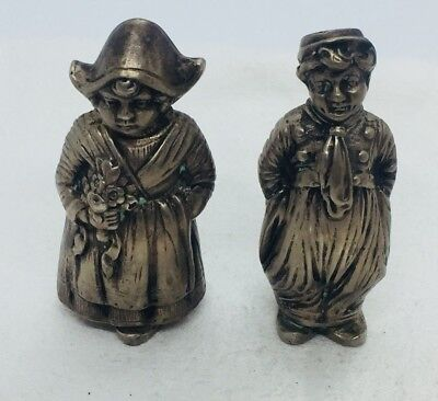 German Antique 800 Silver Figural Dutch Boy & Girl Salt & Pepper Shakers