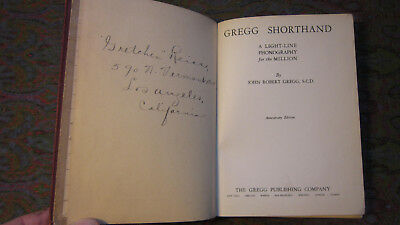 GREGG SHORTHAND ANNIVERSARY Edition 1929 VG+ HC with Owner's Names -Nice!