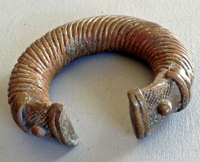 Antique Viking Decorated Big Bronze Sterling Bracelet From Northern Russia