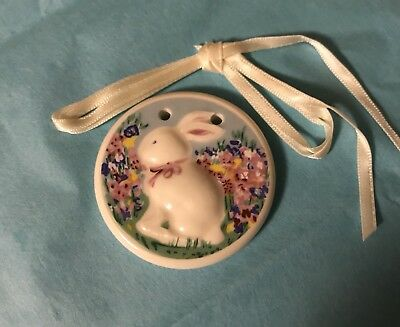 Longaberger Ceramic Happy Easter Bunny RABBIT 1999 Tie-on For Your Basket NWOB