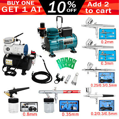 Voilamart Air Brush Compressor Kit Airbrush Art Stencils Spray Gun Dual Action