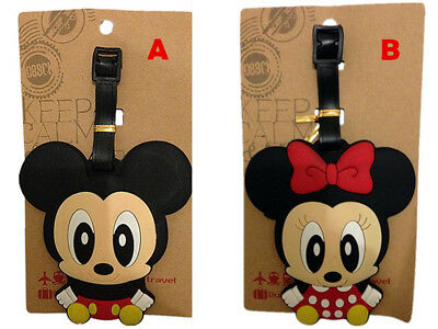 Micky Mouse Minnie Mouse Disney Travel Luggage Tag School Bag Silicone NEW