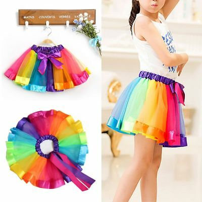 Baby Girl Party Toddler Tulle Dance Dress Rainbow Tutu Skirt Princess