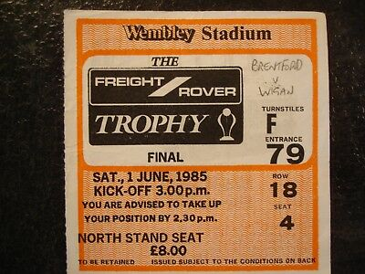 Ticket Fright Rover Trophy Final Brentford V Wigan 1985