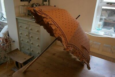 Ladies Material Parasol with Wooden Handle