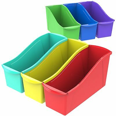 Storex Book Bin with Label Holder, 14.3 x 5.3 x 7 Inches, Assorted Colors, Case
