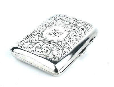 Mid Century WW2 Sterling Silver Cigarette Case Floral Cushioned 1944