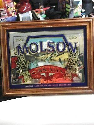 MOLSON MIRROR Since 1786 All Wood And Glass Molson Ale Wall Plaque BEER MIRRORS
