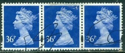 Great Britain Sg-Y1696, Scott # Mh-224 Strip Of 3 Machin, Used, Great Price!
