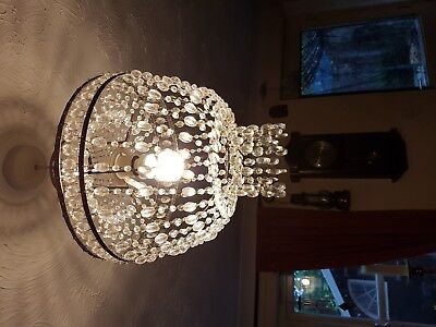 Lovely looking Glass Chandelier Lamp Shade - Complete - See Photos