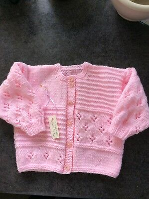 NEW Beautiful Hand Knitted Baby Girl's  Pink Cardigan. To fit age 6-12 mths
