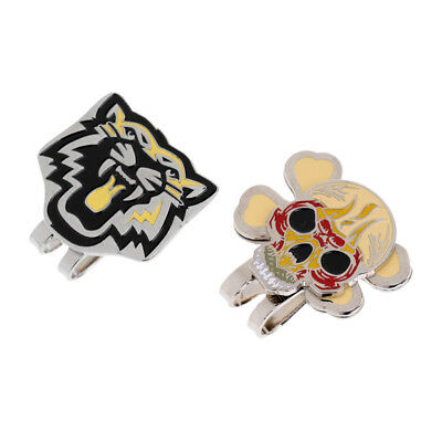 2 Pieces Cool Tiger Skull Magnetic Hat Cap Visor Clip Golf Ball Marker Gift