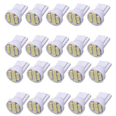 20Pcs T10-1206-8SMD Car Interior Gauge Dashboard Wedge Light Bulb - White