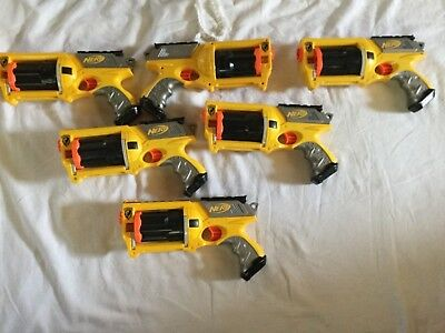 Lot of 6 Nerf N Strike Maverick Rev-6 Blaster Gun Birthday Party Fun TESTED/WORK