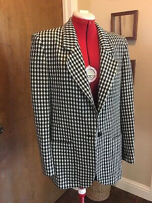 Christian Dior Separates Vtg Black White Houndstooth Two Button Blazer Size 10