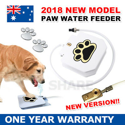 Dog Water Drinking Fountain Pet Dispenser Automatic Step & Spray Auto Paw Press