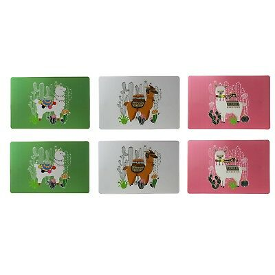 Set of 6 Plastic Llama Cactus Placemats Place Mat Dining Table Kitchen Home New