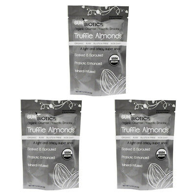 3X Sunbiotics Organic Gourmet Probiotic Snacks Truffle Almonds Daily Healthy