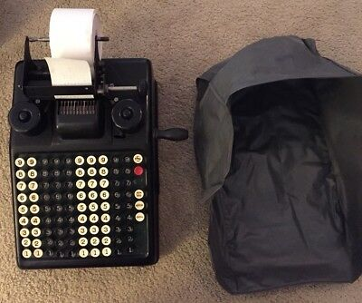 ANTIQUE VTG BURROUGHS PORTABLE PRINTING ADDING MACHINE WORKS GREAT With Cover