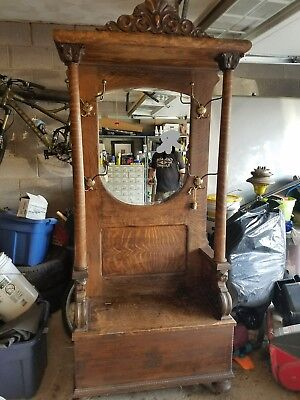 Antique Oak  Arts Crafts Carved  hall tree Seated Bench Beveled Mirror