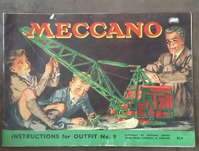 Meccano Instructions for Outfit No. 9, Leaflet Booklet, Manual, Vintage, 56 Page