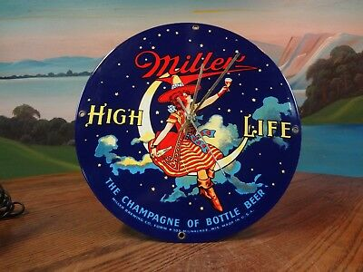 Vintage Miller High Life Beer Porcelain Wall Clock With Witch On Moon. Nice !!!