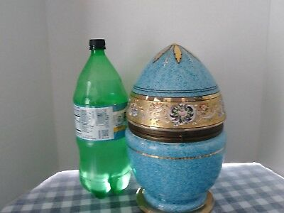 Beautiful Czech  Egg-Shaped Decanter Set, With Glasses Hand Painted