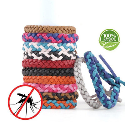 Weave PU Leather Beautiful Fashion Safety Repellent Bracelet Outdoor Moths Home