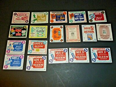 Lot of 18 Vtg 1960s Old Grocery Coupons Key Punched Purina Tide Gleem Prell Etc