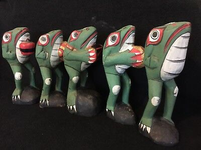 5 Northwest Coast hand Carved Frogs!!!