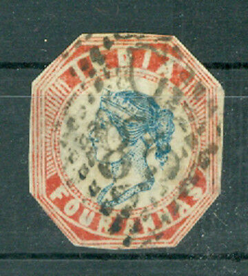 1854, Indien India 4 Annas Head blue/red, used (22)