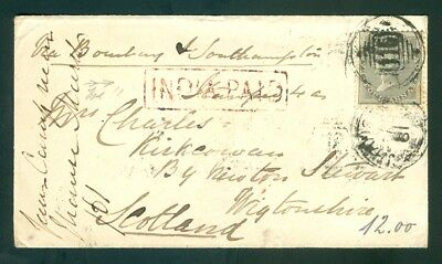 """1861, Indien India 4 Annas QV on cover with """"India Paid"""" to Scotland (58)"""