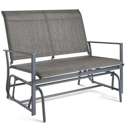 2-Seater Glider Bench Seat Textoline Fabric Rocking Chair Steel Frame Swing Grey