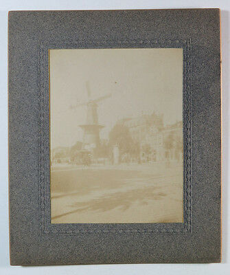 Original Antique Photograph Windmill in a City Circa Early 1900s