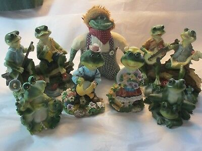 Lot of 7 Whimsical Musical FROG Toad Family Figurines