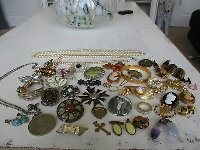 wonderful collection of antique & vintage jewellery unusual lot..