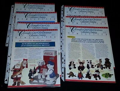 Set of 7 Cavanagh's Coca-Cola Christmas Collectors Society Newsletters 1999/2000