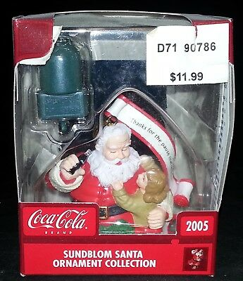 "Coca-Cola Coke Ornament Sundblom Santa ""Thanks for the Pause that Refreshes"""