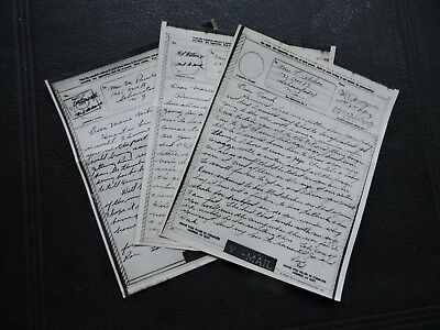 3 Wwii V-Mail Letters 1945 Apo 772 France ! D-Day Invasion +War Germany Military