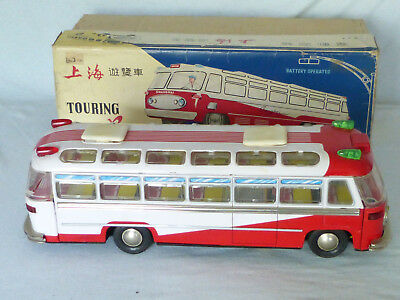 Red China ME 086 Touring Bus Coach Blech Auto Tin Toy Car 70er Jahre in Box 38cm