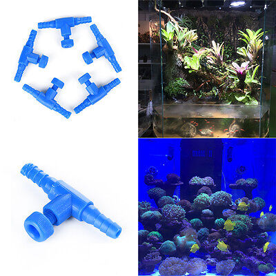 5Pcs Adjustable Aquarium Pump Air Line Flow Control Valve For Fish Tank Blue