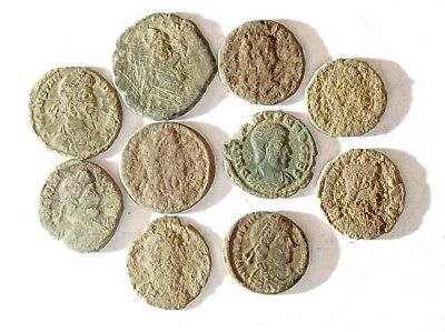 10 ANCIENT ROMAN COINS AE3 - Uncleaned and As Found! - Unique Lot 15450