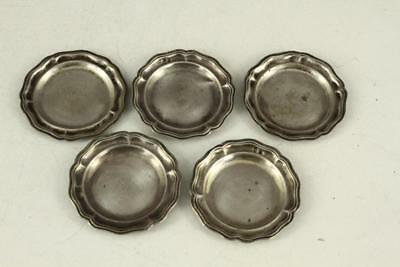 "Vintage Metalware HUNGARIAN 2.75"" Wide 5PC Lot Sterling Silver BUTTER PATS"