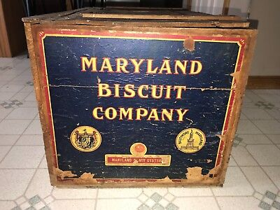 Vntage Old Maryland Biscut Company Dandy Oyster Box Wooden Crate Baltimore Md