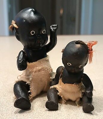 Two Vintage African American Black Americana Bisque Jointed Baby Doll Figurine